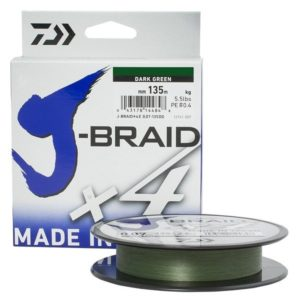 Шнур Daiwa J-BRAID X4E 0.17MM-135M D. GREEN